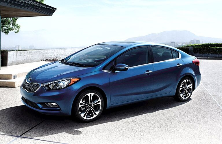 Kia Forte Front End and Side View in Blue