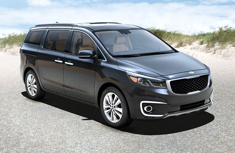 Kia Sedona Side and Front End Exterior View in Black