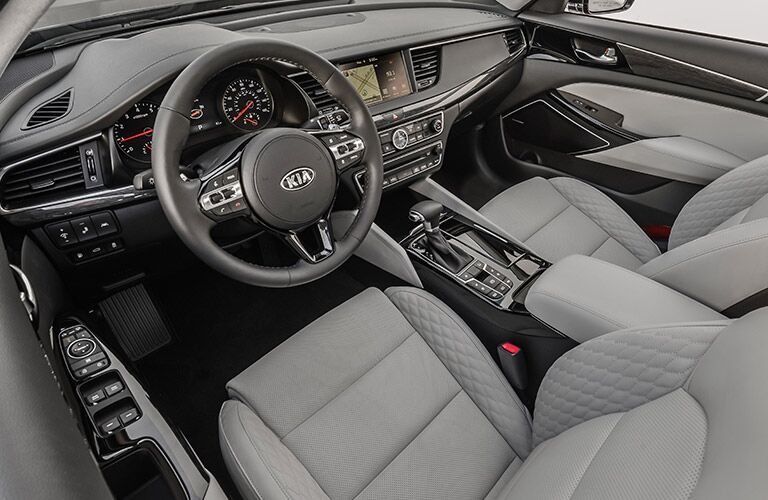 2017 Kia Cadenza Interior View of Front Seating in Gray