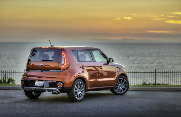 2017 Kia Soul Exclaim Rear End and Side View in Orange