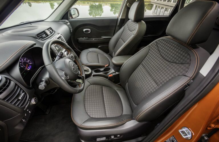 2017 Kia Soul Exclaim Interior View of Front Seating and Trim Level Stitching
