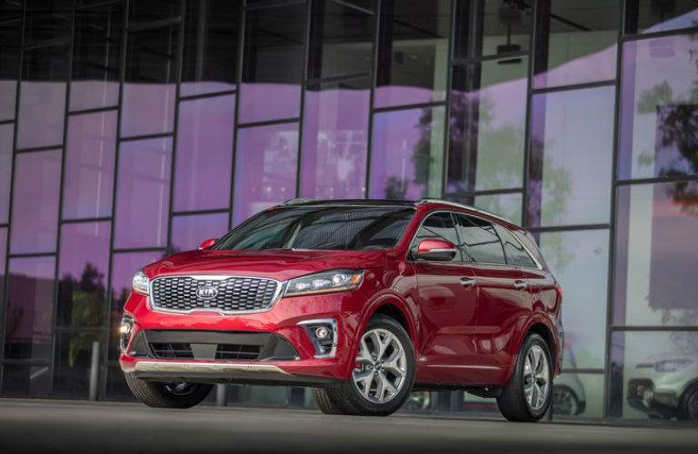 2019 Kia Sorento in front of a modern building