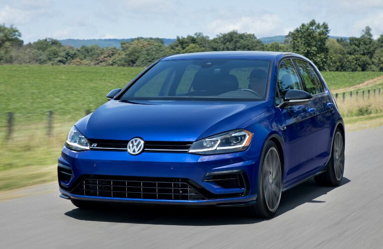 Front View of Blue 2018 Volkswagen Golf R