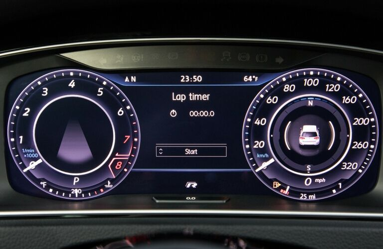 close up of dashboard in 2018 vw golf r
