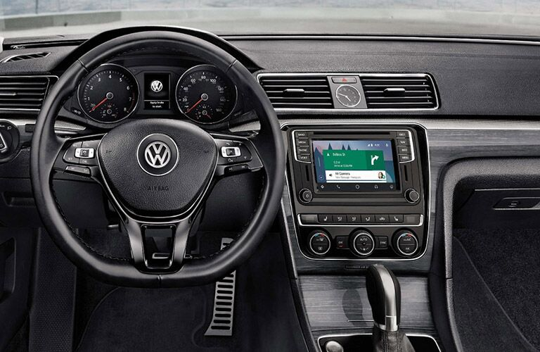 2018 VW Passat Close-Up View of Steering Wheel and Instrument Panel