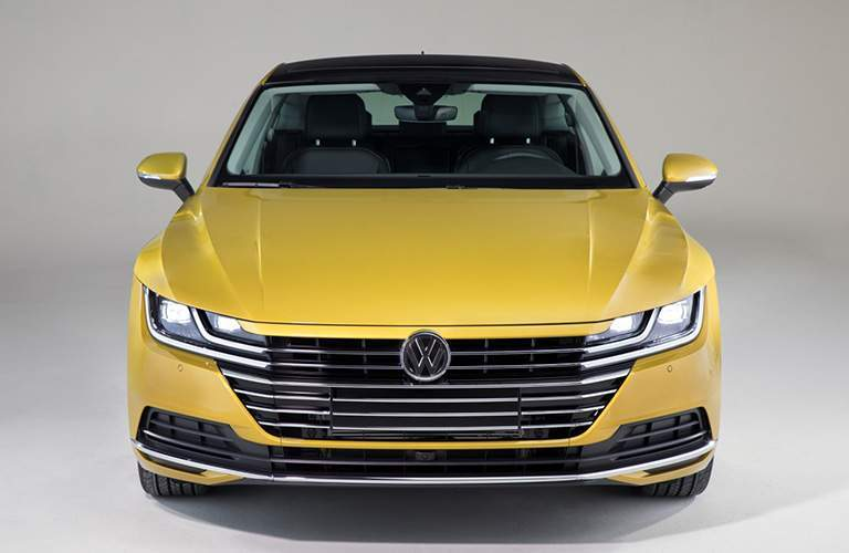 Gold 2019 Volkswagen Arteon Front Grille on Gray Background