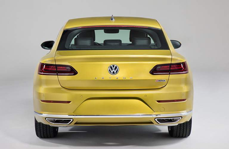 Gold 2019 Volkswagen Arteon Rear Exterior on Gray Background