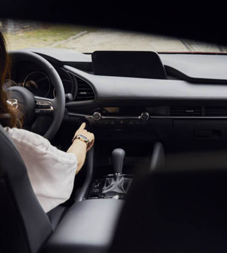 2019 Mazda3 being started as seen from the back seat