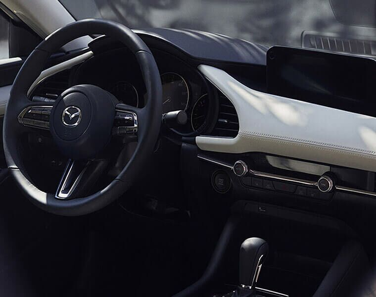 2019 Mazda3 interior cabin looking at the driver's console