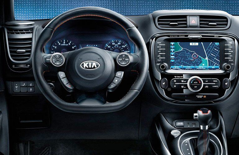 2017 Kia Soul steering wheel and infotainment system