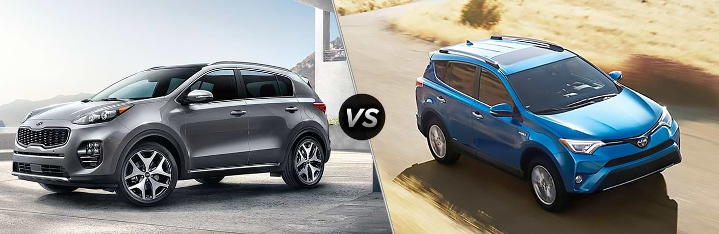 "Driver side exterior view of a gray 2018 Kia Sportage on the left ""vs"" a passenger side exterior view of a blue 2018 Toyota Rav4 on the right"