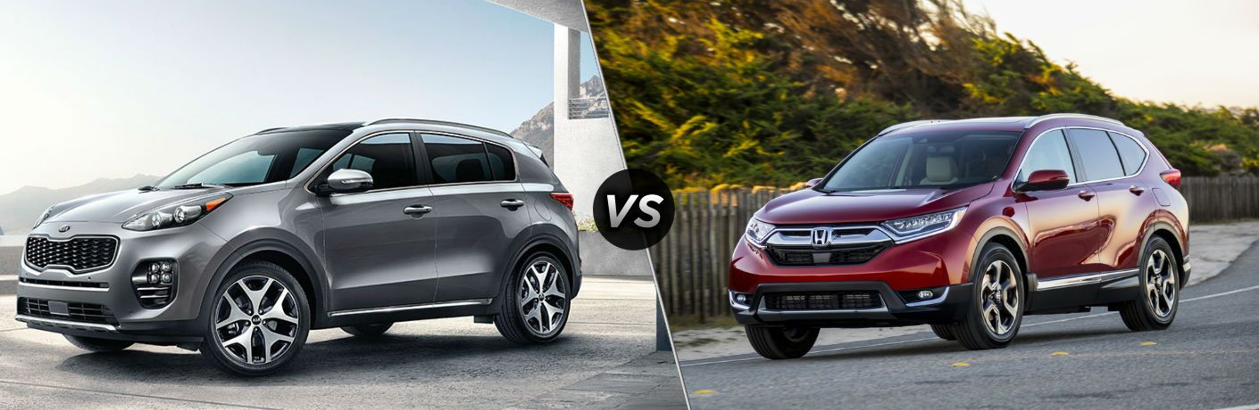 "Driver side exterior view of a gray 2018 Kia Sportage on the left ""vs"" Driver side exterior view of a red 2018 Honda CR-V on the right"