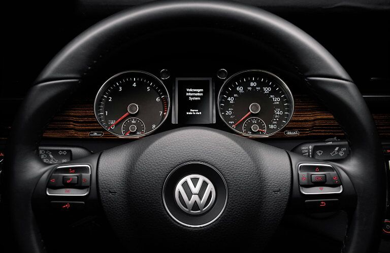 Wood trim and an elegant steering wheel are just some of the pleasures of driiving a 2015 Volkswagen CC Glendale CA