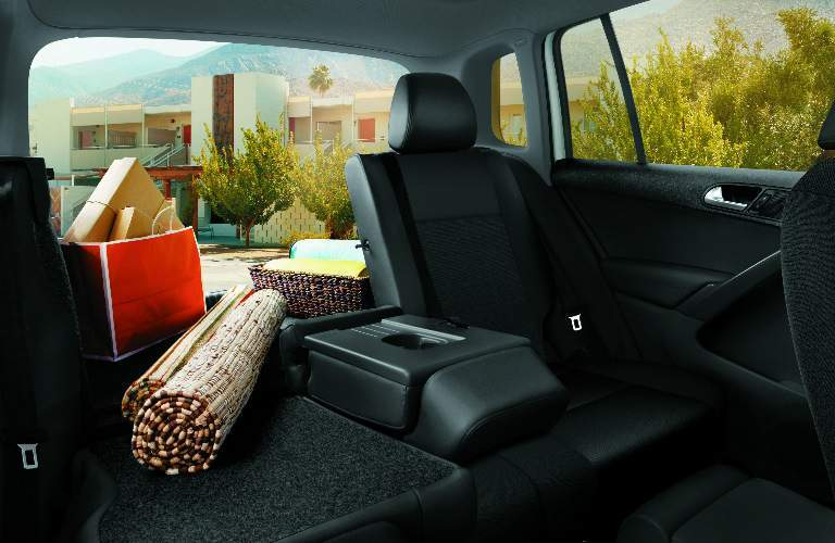 Cargo area with one seat down in the 2017 Volkswagen Tiguan Limited