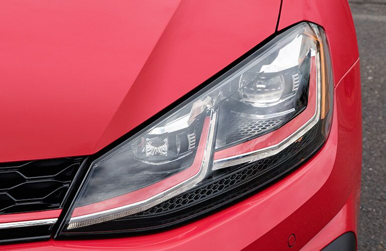 red 2018 VW Golf GTI headlight closeup
