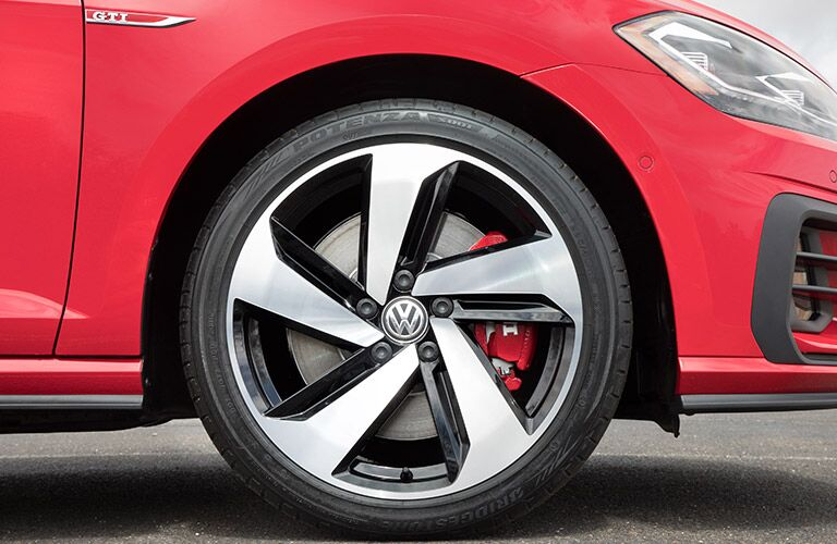 red 2018 VW Golf GTI closeup of front wheel