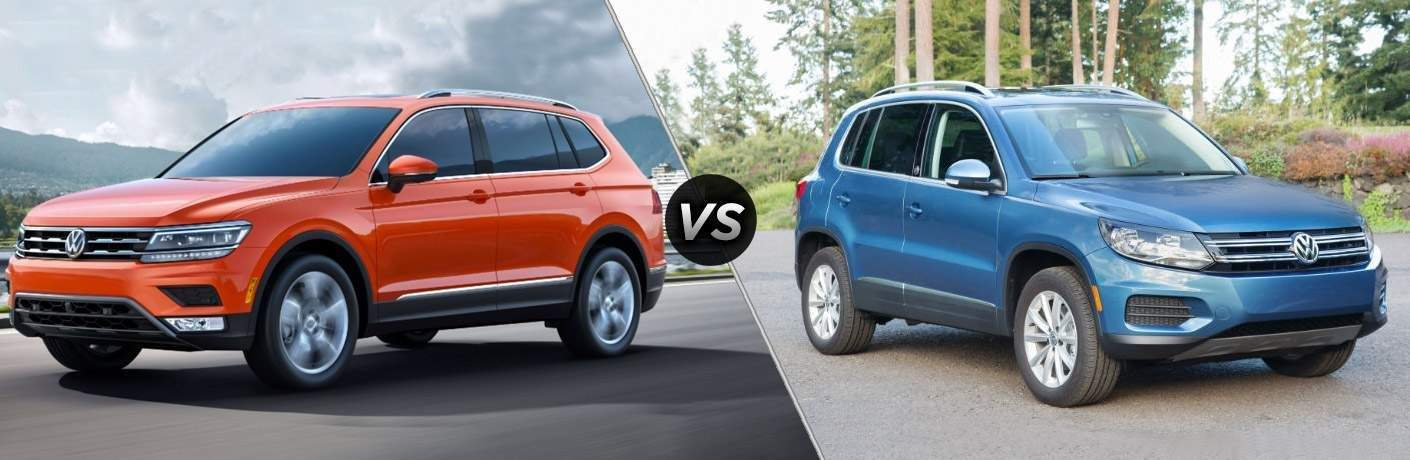 Side by side picture of the 2018 Volkswagen Tiguan vs the 2017 Volkswagen Tiguan Limited