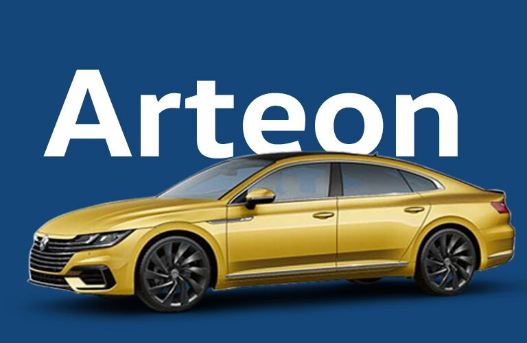 2019 VW Arteon with text and blue background