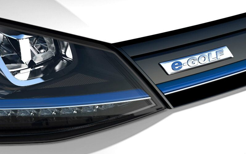 The e-Golf front end features C-shaped LED lights and blue accents
