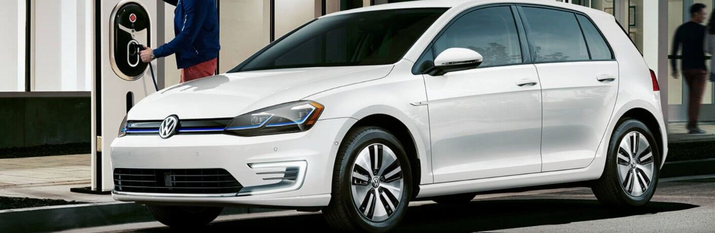 white 2019 Volkswagen e-Golf being charged