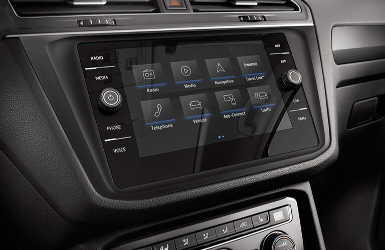 Closeup view of the touchscreen display in the 2018 VW Tiguan
