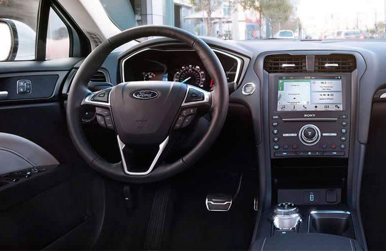 Driver cockpit view of 2017 Ford Fusion