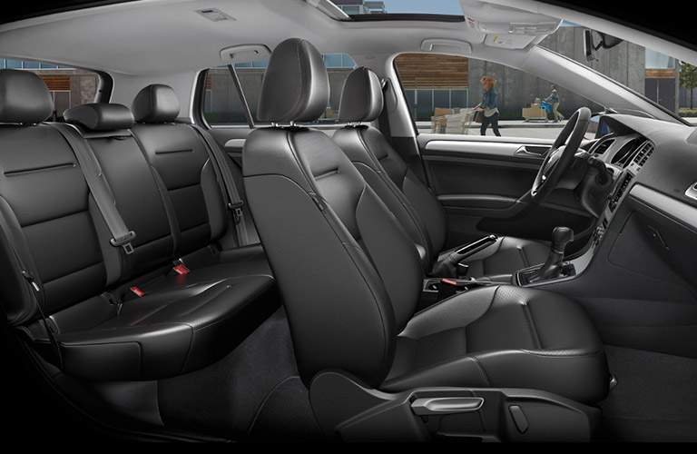 Profile view of the 2017 Volkswagen Golf's interior seats