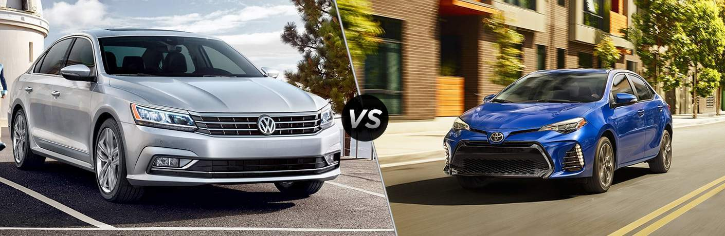 """Exterior view of a gray 2018 VW Passat on the left """"vs"""" exterior view of a blue 2018 Toyota Corolla on the left"""