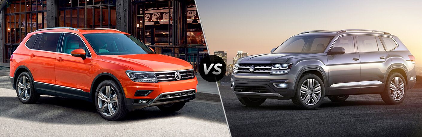 "Passenger side exterior vie of an orange 2018 VW Tiguan on the left ""vs"" driver side exterior view of a gray 2018 VW Atlas on the right"