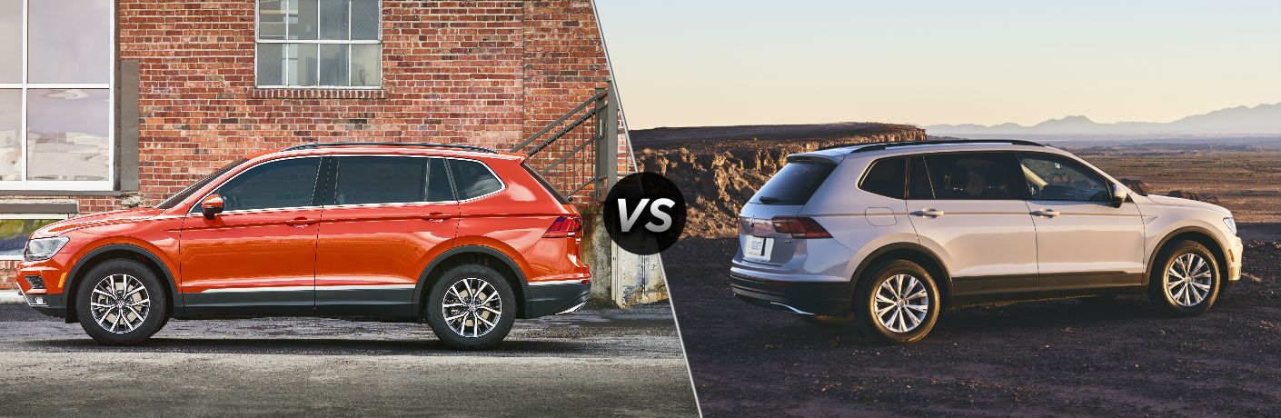 "Driver side exterior view of an orange 2018 VW Tiguan SE on the left ""vs"" passenger side exterior view of a gray 2018 VW Tiguan S on the right"