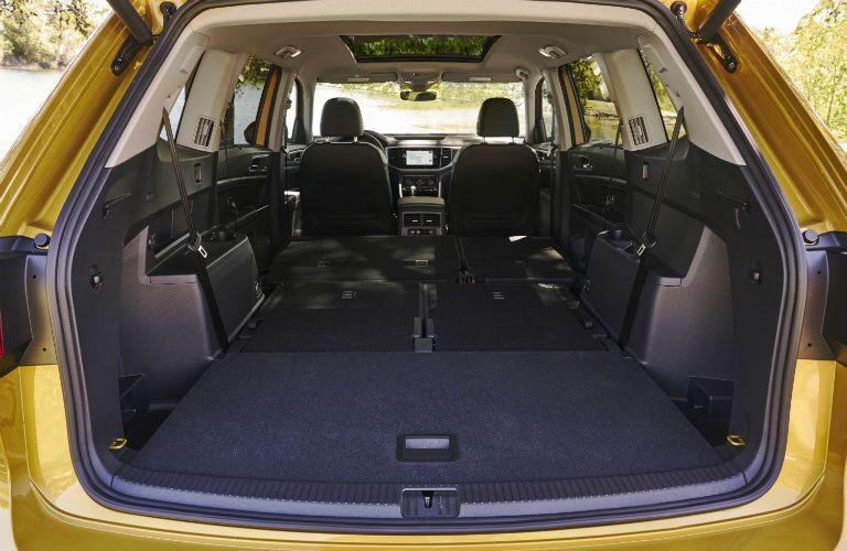Rear seats folded flat in the 2018 VW Atlas