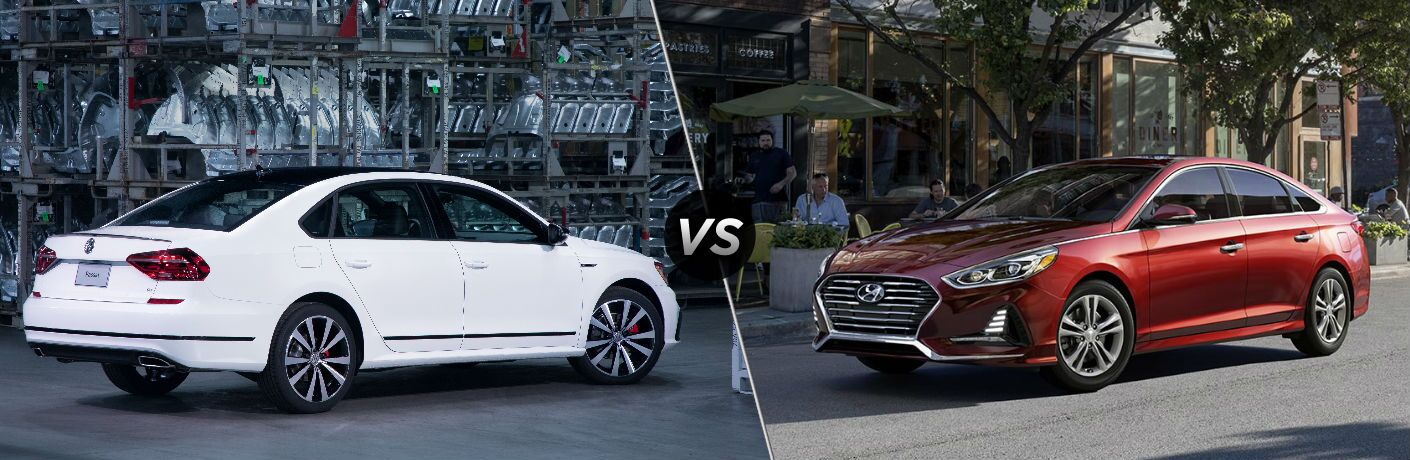 """Passenger side exterior view of a white 2018 VW Passat on the left """"vs"""" driver side exterior view of a red 2018 Hyundai Sonata on the left"""