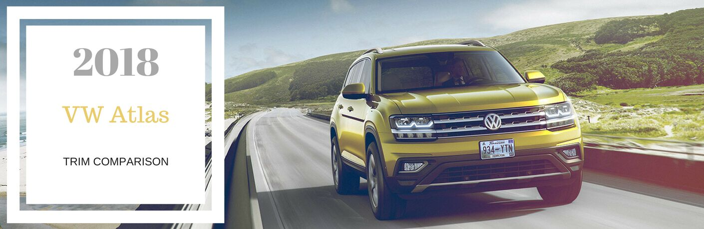 2018 VW Atlas trim comparison, test on a front exterior image of a yellow 2018 VW Atlas