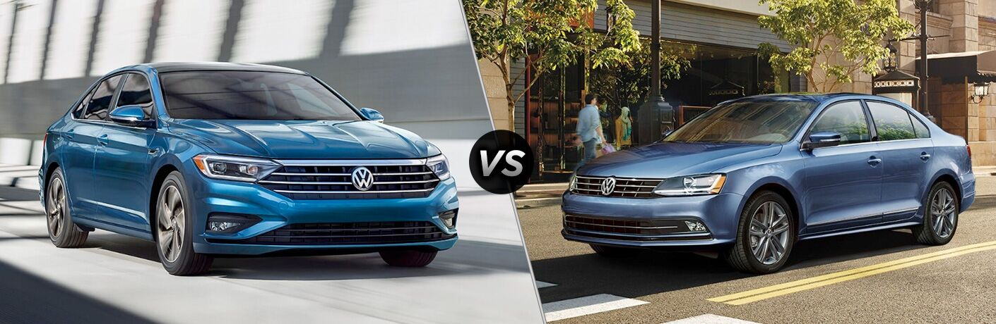 "Front exterior view of a blue 2019 VW Jetta SE on the left ""vs"" driver side exterior view of a blue 2019 VW Jetta SEL on the right"