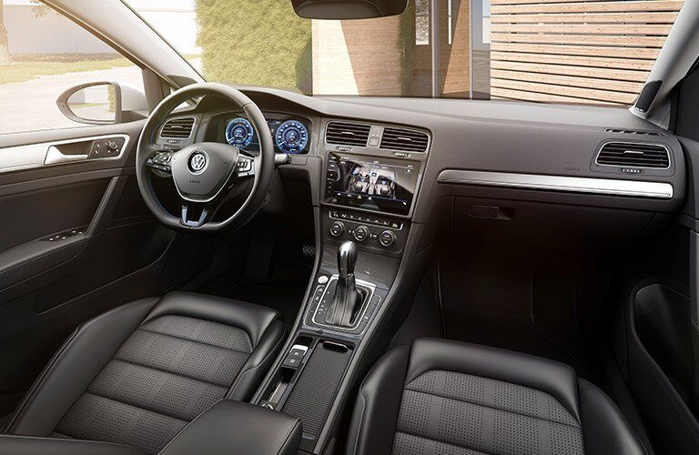 2017 Volkswagen e-Golf interior with dash and shifter