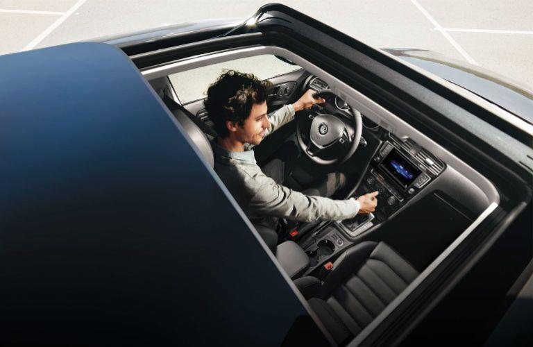 2015 Volkswagen Golf Sacramento CA panoramic sunroof interior front steering wheel console
