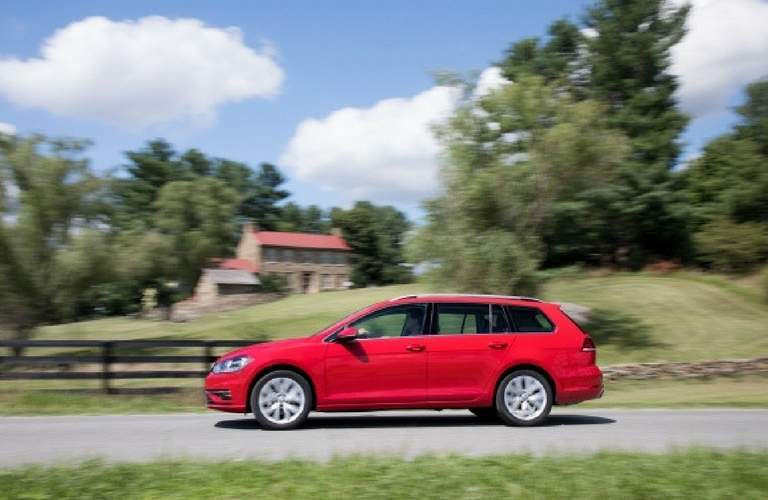 2018 Volkswagen Golf SportWagen driving on country road