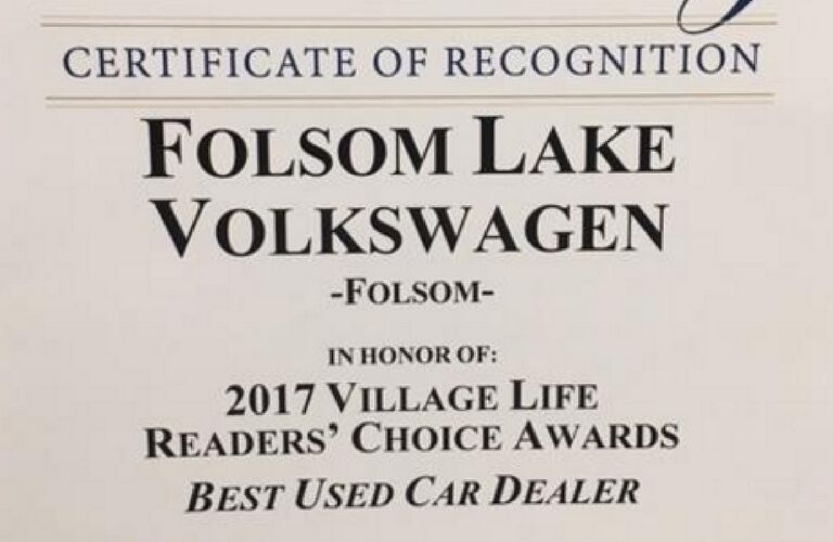 Certificate of recognition Folsom Lake Volkswagen