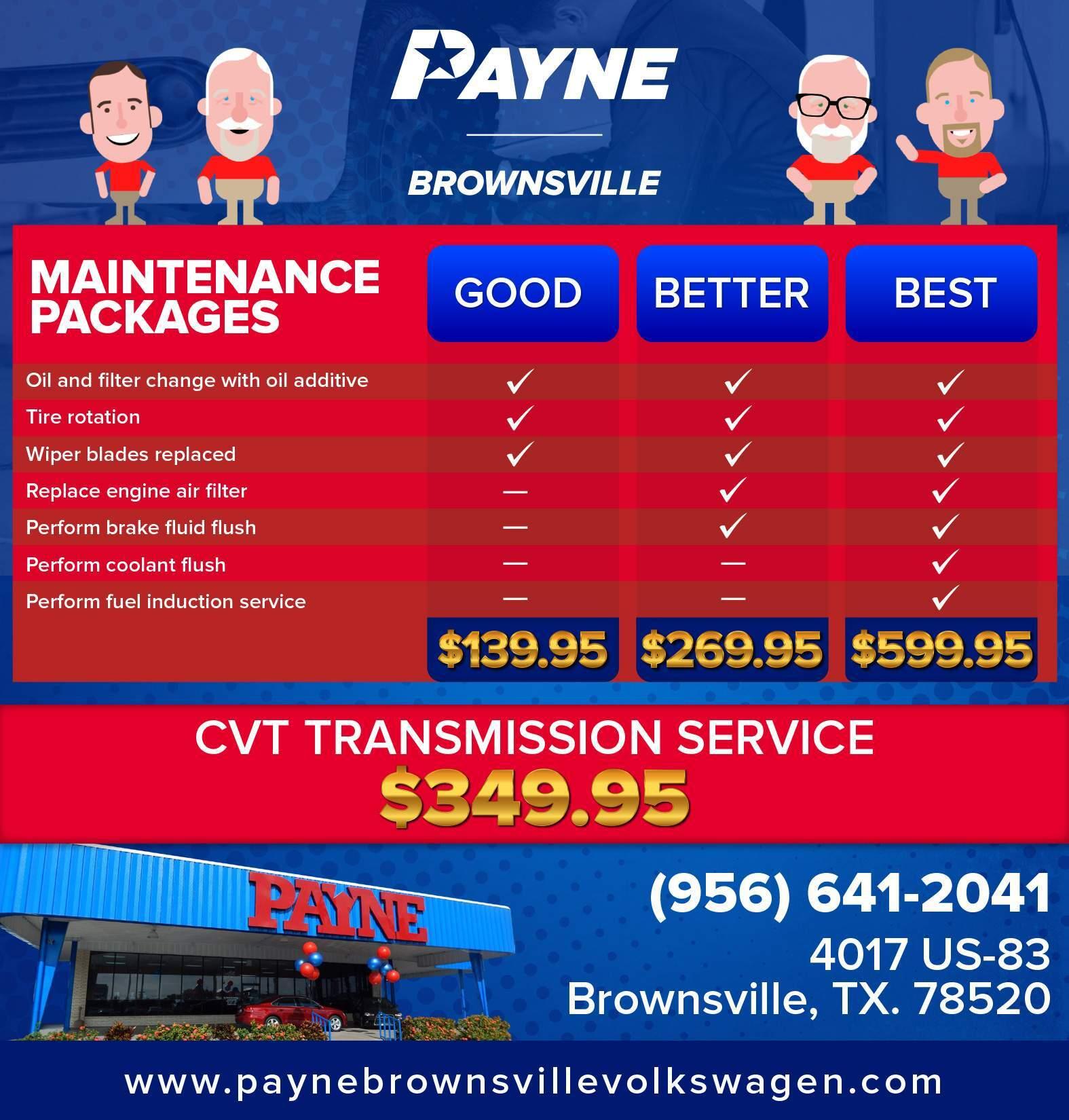 Volkswagen Gas Maintenance Packages Payne Brownsville Volkswagen