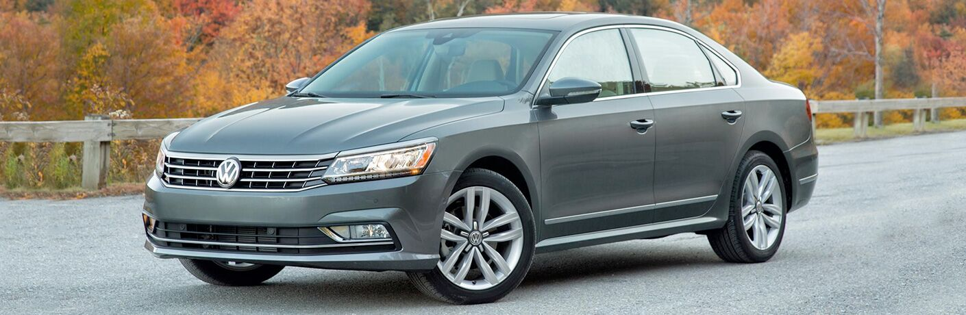 front view of gray volkswagen passat
