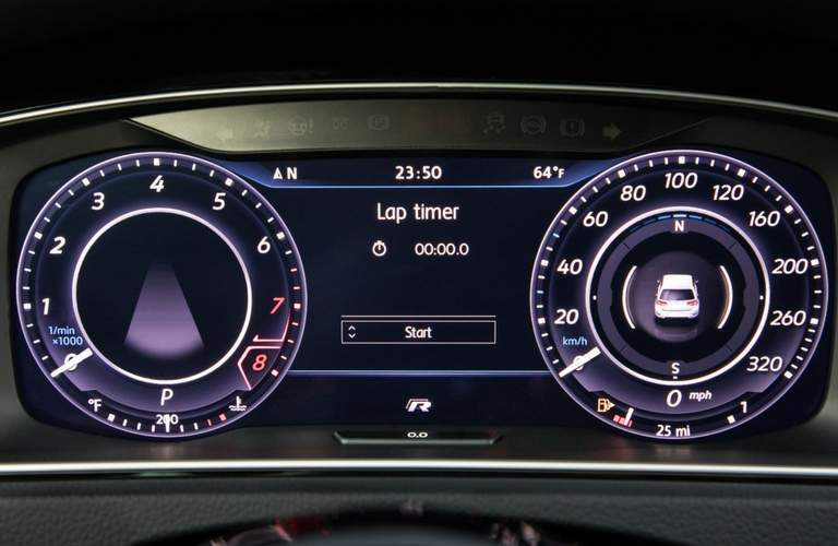 Lap Timer and gauges of 2018 Volkswagen Golf R