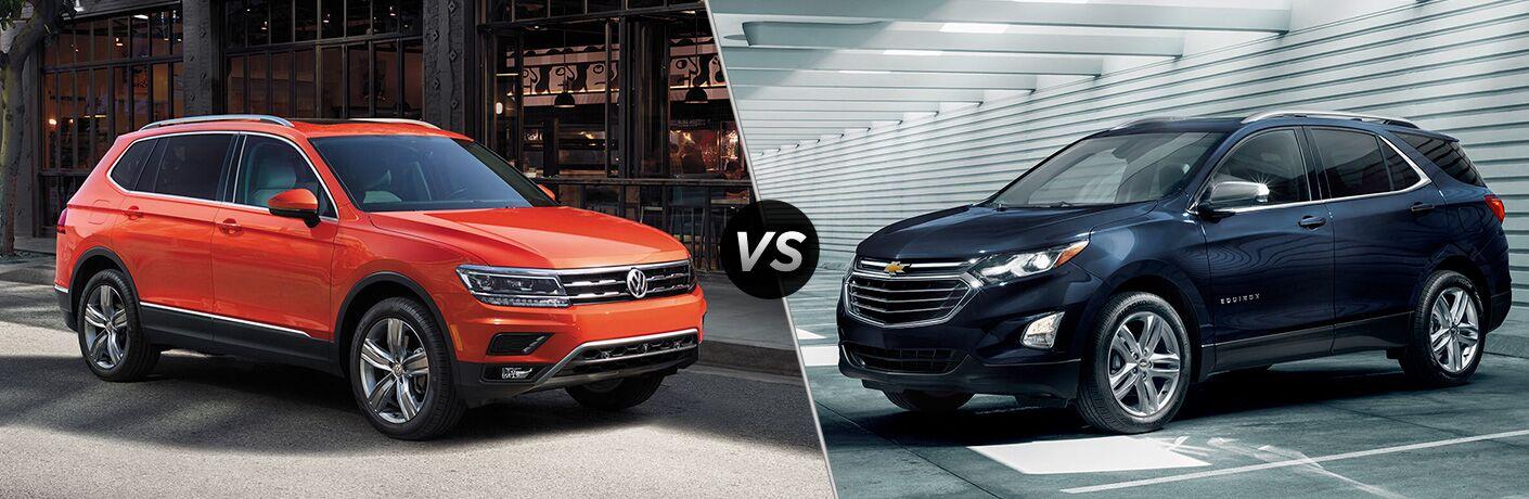 Orange 2019 Volkswagen Tiguan, VS icon, and blue 2019 Chevrolet Equinox