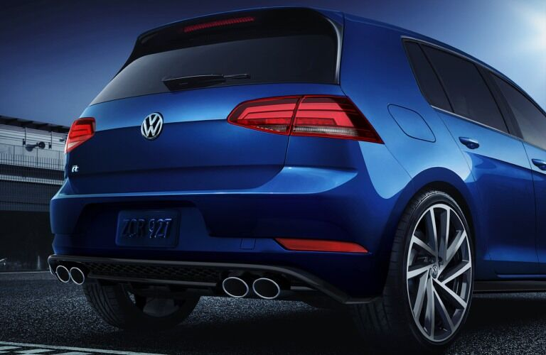 Close-up on the rear of the 2019 Volkswagen Golf R