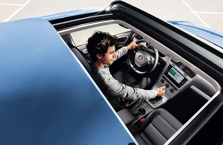Panoramic sunroof of blue 2020 Volkswagen Golf
