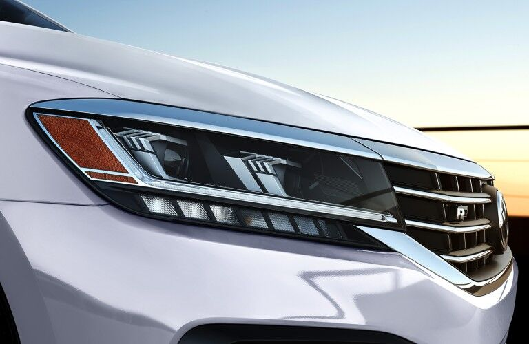 2020 Volkswagen Passat R-Line close up of passenger side headlight