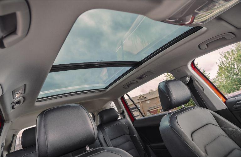 2020 Volkswagen Tiguan interior panoramic sunroof upward view