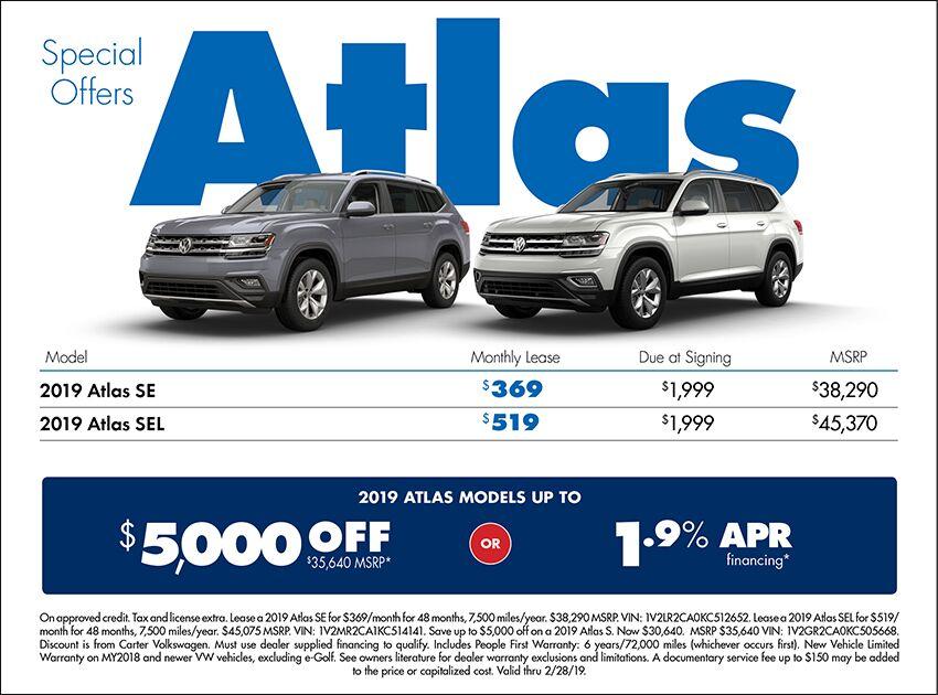 2019 Atlas Low APR or Lease Special at Carter Volkswagen In Ballard located in Seattle, WA