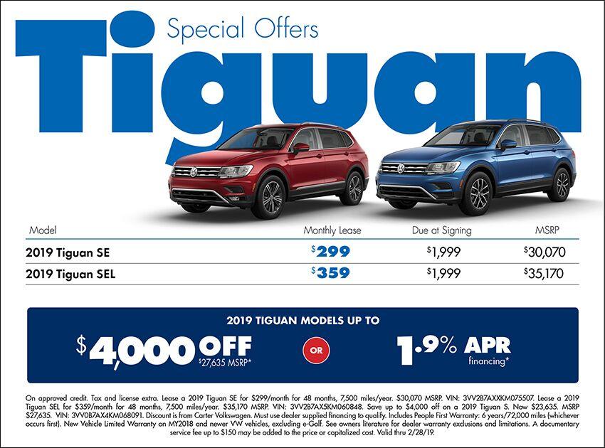 2018 Volkswagen Tiguan Lease or Sales Special in Seattle, WA