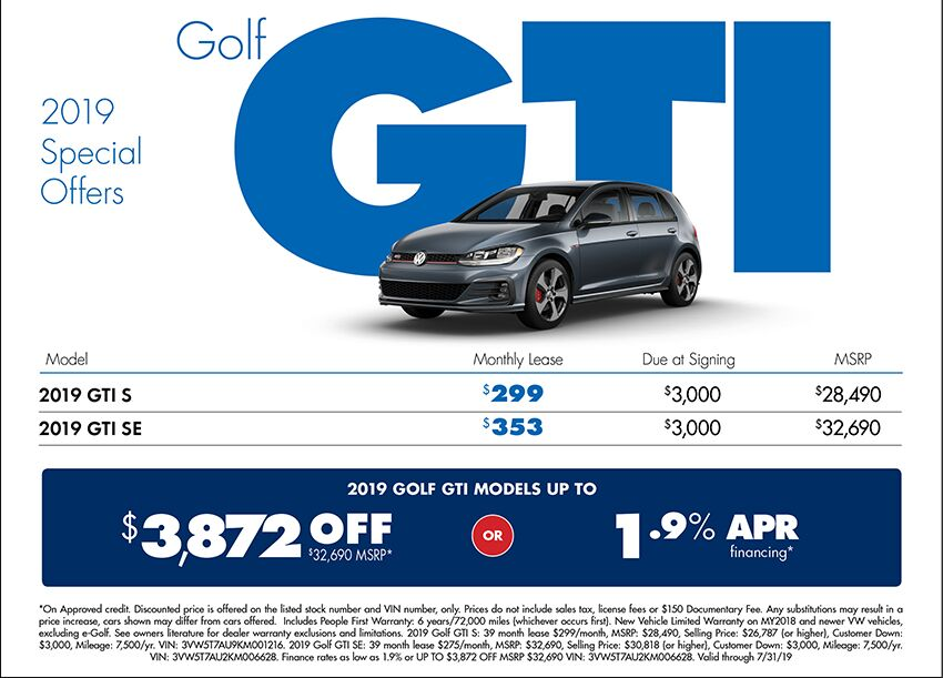 2019 Volkswagen Golf GTI Lease or Purchase Special in Seattle, WA
