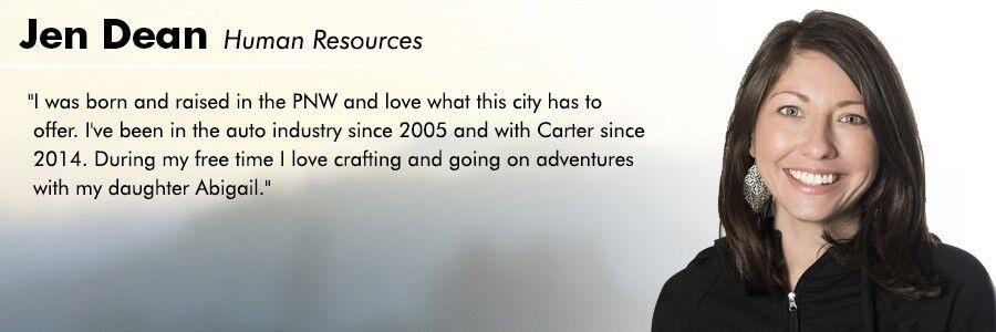 Jen Dean, HR Administrator at Carter Volkswagen in Seattle, WA